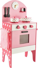 Toyslink Wooden Pink Kitchen Set at Baby Barn Discounts Toyslink wooden kitchen set comes complete with an oven, stove top, salt and pepper shakers, pots and utensils.