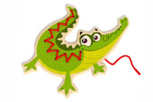 Tooky Toy Wooden Lacing Animal Crocodile | Baby Barn Discounts Large sturdy wooden Tooky Toy lacing card in the shape of a bright colourful animal.