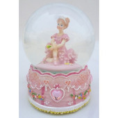 Cotton Candy Pink Ballerina Snowglobe CAR10 | Baby Barn Discounts A beautiful ballerina inside a traditional glitter snowglobe. Plays the tune Swan Lake when the key is turned. Shake to watch the glitter fall.
