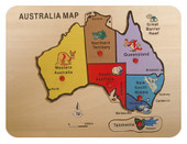 Lucky Tree- Wooden Puzzle- Australia Map A wooden puzzle in the shape of an Australian Map, perfect for teaching little ones about Australia.