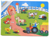 Lucky Tree- Wooden Puzzle- Bright Farm With Path at Baby Barn Discounts A vibrant wooden puzzle featuring a farmer and his animals on a beautiful farmscape.