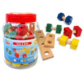 Fun Factory Wooden Nuts & Bolts 56pcs set at Baby Barn Discounts Let those little fingers moving with the Fun Factory wooden nuts and bolts.