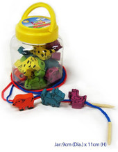 Fun Factory Wooden Lacing Animal In A Jar 32pcs at Baby Barn Discounts Fun Factory 32pcs wooden lacing animals in a handle jar for easy storage & transport.