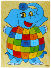 Lucky Tree- Wooden Puzzle- Elephant at Baby Barn Discounts This wooden elephant puzzle by Lucky Tree depicts a blue elephant with each lowercase letter in order of the alphabet on his tummy.