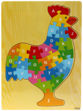 Lucky Tree- Wooden Puzzle- Chicken at Baby Barn Discounts  A wooden puzzle by Lucky Tree featuring a rainbow chicken! Practice your letter recognition with this high quality colourful wooden puzzle.