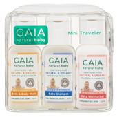 Gaia Natural Baby Mini Traveller 50ml 3pk Kit at Baby Barn Discounts GAIA Natural Baby Mini Traveller Kit contains GAIA Bath & Body Wash, shampoo, moisturiser.