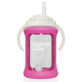 Cherub Baby Wide Neck Glass Straw Cup 240ml PINK at Baby Barn Discounts Cherub Baby wide-neck glass non spill straw cups now come with a patented silicone sleeve with built in shock absorbers that help to prevent breakage when dropped.