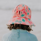 Bedhead Girls Beach Hat Ponytail Bucket - Coral