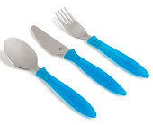Steadyco Let's Eat Cutlery 3pcs Set BLUE at Baby Barn Discounts Steadyco ergonomically designed cutlery set perfect for little toddler's hands.