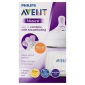 Avent Natural Bottle 0m+ 125ml at Baby Barn Discounts Avent natural feeding bottle has a wide breast-shaped teat for natural latch on.