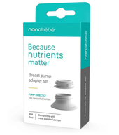 Nanobebe Breastmilk Pump Adapter Set at Baby Barn Discounts Nanobebe Breast Pump Adaptor Set easily connects to all standard size narrow and wide neck breast pumps.