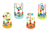 A lovely set of wooden bead mazes with different animal print on the base.
