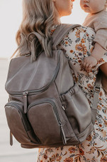 OiOi Faux Leather Nappy Backpack TAUPE at Baby Barn Discounts