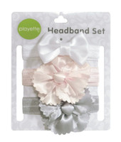 Playette Flower & Bow Satin Headband Set at Baby Barn Discounts Sure to add a cute touch to any outfit, these headbands are made from soft and stretchy material they look fantastic and feel comfortable on.