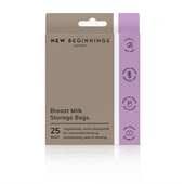 New Beginnings Breast Milk Storage Bags 25s at Baby Barn Discounts New Beginnings Breast Milk Storage Bags hygienically and conveniently store breastmilk for freezing, transporting and reheating.