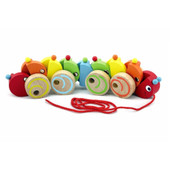 VIGA Pull Along Rainbow Caterpillar Wooden Toy