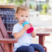 Boon Snug Straw with Cup (Universal Silicone Sippy Lid) - Pink/Purple/Blue