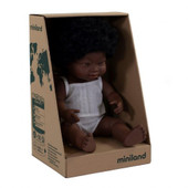 Miniland Anatomically Correct Baby Doll Girl 38 cm DOWN SYNDROME AFRICAN GIRL