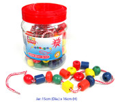 Fun Factory Wooden Lacing Beads in a Jar 90 pcs