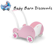 Viga Toys Traditional Pink Wooden Dolls Buggy Pram