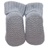 Playette Newborn Booties Socks Grey Puppy