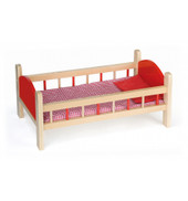 Viga - Wooden Doll Bed Red Panel with Bedding