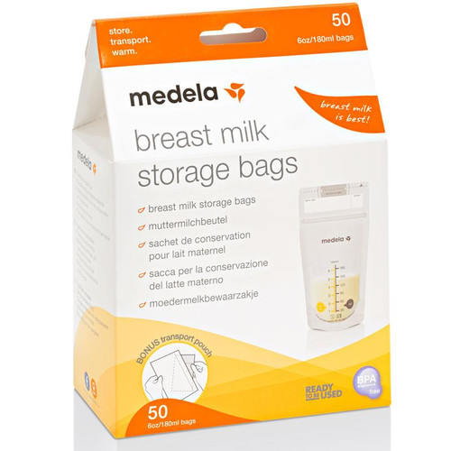 Medela Breastmilk Storage Bags (50 Bags) with Bonus Transport Pouch