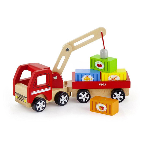 Viga Toys Wooden Crane Truck with Magnetic Blocks
