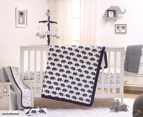 The Peanutshell 3 Piece Cot Bedding Set Navy Elephant