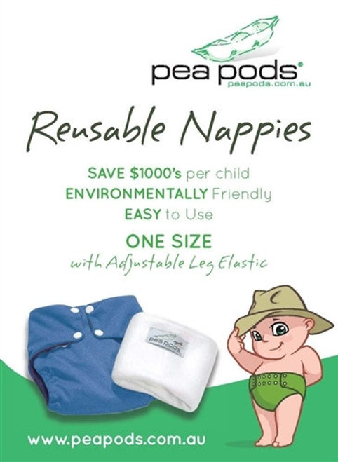 Pea Pods Reusable Nappies One Size - Various Colours