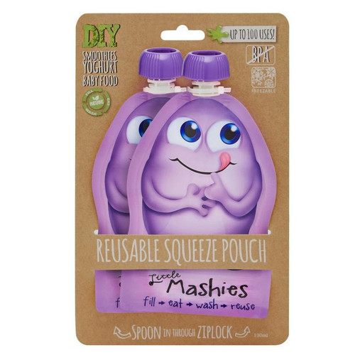 Little Mashies Reusable Squeeze Pouch Twin Pack - PURPLE