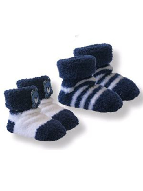 Playette 2 Pack Chenille Bootie Socks - NAVY