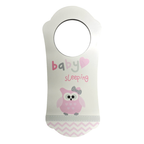 Owl Baby Sleeping Sign Wooden Door Hanger