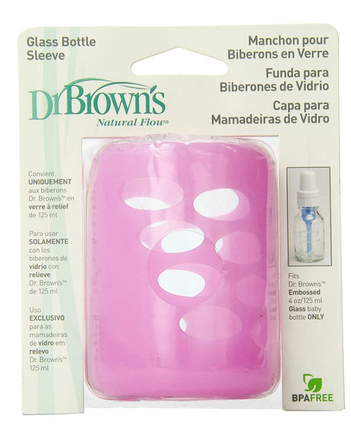 Dr Brown's Protective Sleeve for 125ml Glass Narrow Neck Bottle Pink