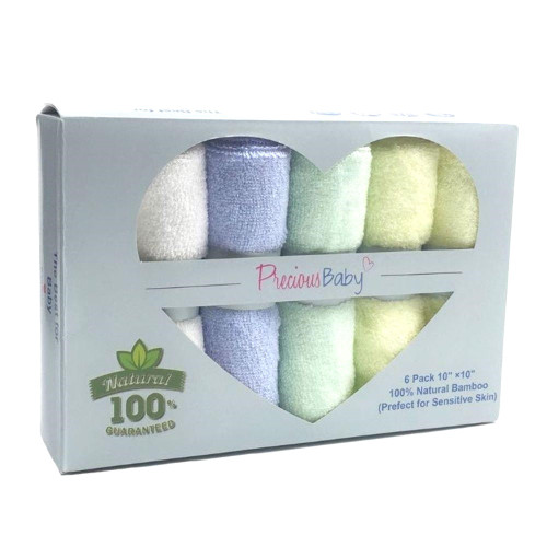 Precious Baby Bamboo Wash Clothes 6 Pack