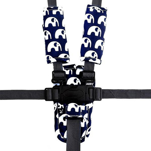 Outlook Pram Harness Cover Set - BLUE ELEPHANTS