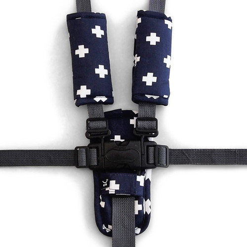 Outlook Pram Harness Cover Set - NAVY CROSSES
