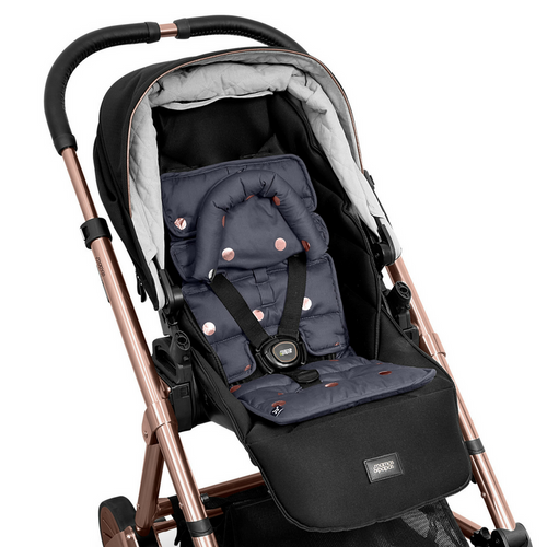 Outlook Get Foiled Mini Pram Liner - Charcoal/ Rose Spots