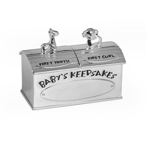 Animal Baby First Tooth First Curl Keepsake Box Silver Plate