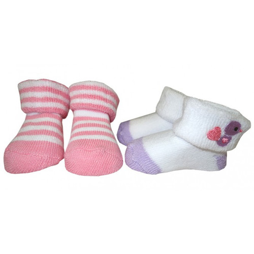Playette Newborn Bootie Socks 2pk 3-6 Months - Purple Bird