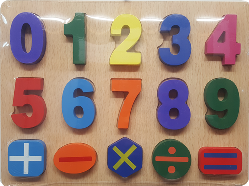 Wooden Raised Number & Equation Puzzle