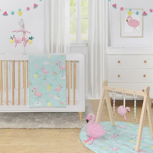 Lolli Living 4 piece Cot Set Flamingo