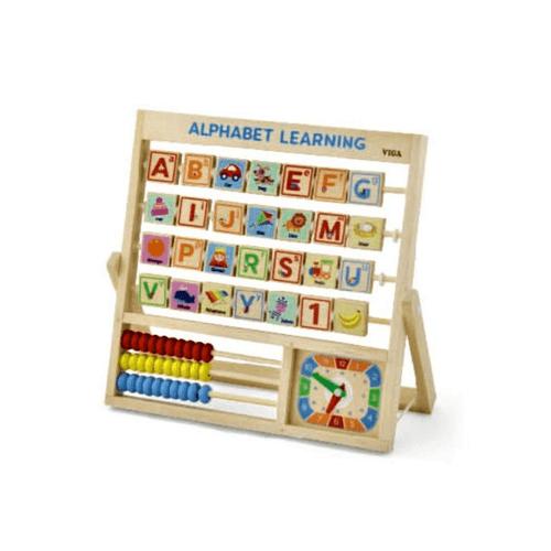 Viga Wooden Learning Alphabet Abacus & Clock