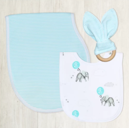 Living Textiles 3pcs Gift Set (Bip, Burp & Teether) Elephant
