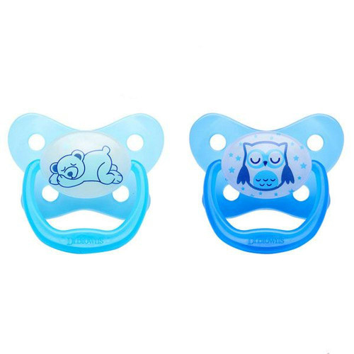 Dr Brown's Prevent Glow in the Dark Soother 2pk 12m+ - BLUE
