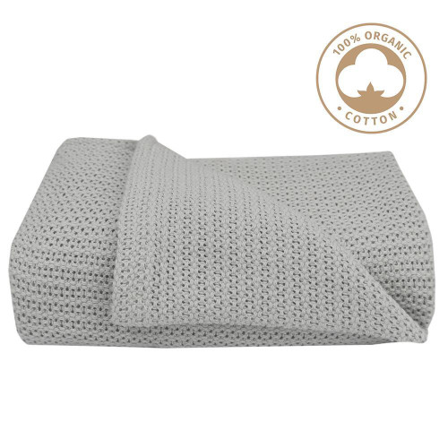 Living Textiles Organic Cot Cellular Blanket - GREY