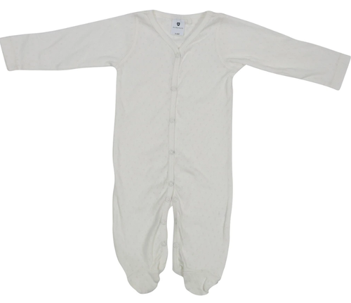 Korango Pointelle Romper White at Baby Barn Discounts This cotton romper has easy access press stud buttons at the front of the romper with enclosed feet to keep bub cuddly and warm.