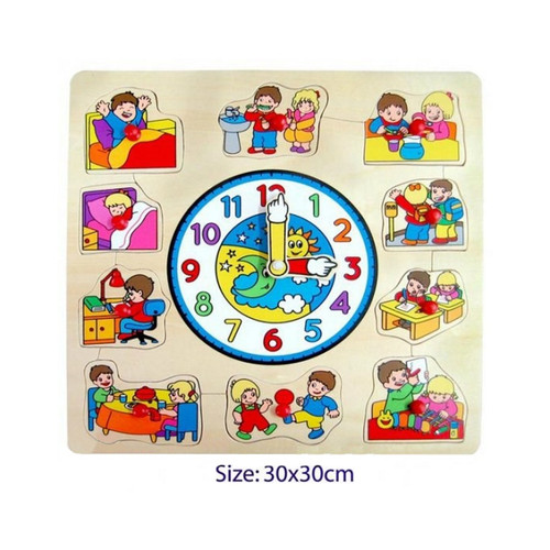 Fun Factory Wooden Children Clock Puzzle