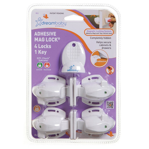 Dreambaby Adhesive Mag Lock 4 Locks 1 Key