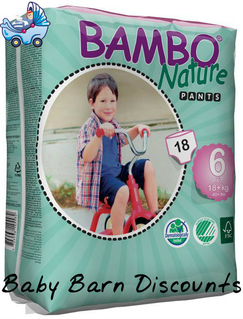 Bambo Nature Eco Disposable TRAINING PANTS 18+kgs - Size 6